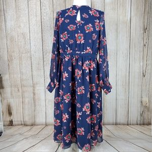 Modcloth More to Adore Long Sleeve Dress Navy